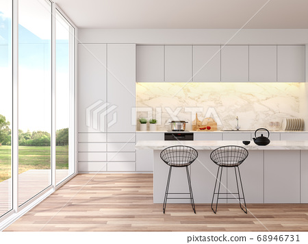 Modern white kitchen with nature view 3D render 68946731
