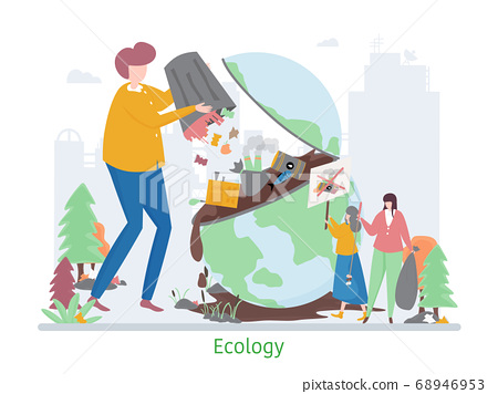 Concept of Ecology Problem, flat design vector 68946953