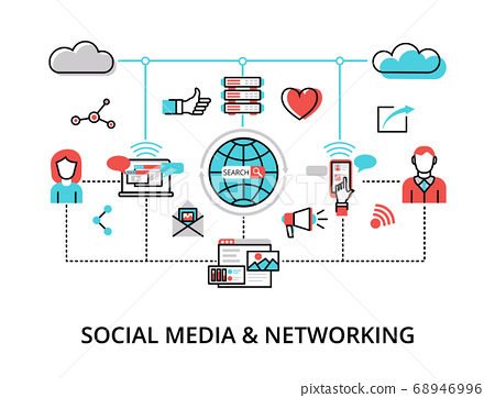 Infographic Social Media and Networking concept, 68946996
