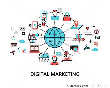 Infographic Digital Marketing concept, modern flat 68946997