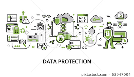 Infographic greenery Data Protection concept 68947004