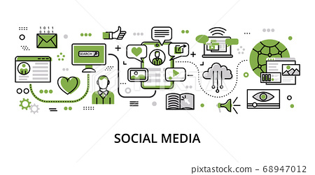 Infographic greenery Social Media concept 68947012