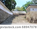 A castle town that seems to appear in a historical drama Stairs and walls leading to the Tenshaku 68947078