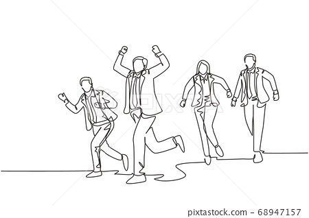 One single line drawing of group of male and female workers doing sprint race on the road track cross finish line 68947157