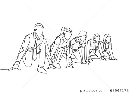 One single line drawing group of businessman and businesswoman get ready on start line to do sprint race 68947178
