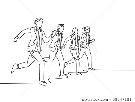 Single continuous single line drawing group of urban commuter workers walking and running to get to the office on time 68947181