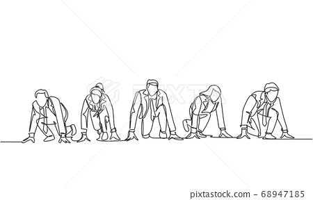 One single line drawing group of businessmen and businesswomen get ready on start line to do sprint race 68947185