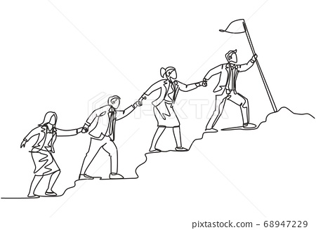 One continuous line drawing of male and female team member stick together follow their leader who holds flag to reach the top of the hill 68947229