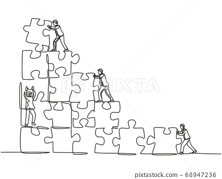 One single line drawing of two young businessman push and arrange puzzle pieces to build a strong building 68947236