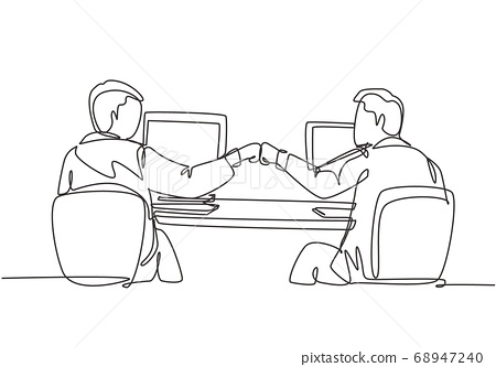 One continuous line drawing of two young happy male worker bump their fist to celebrate their success at the office 68947240