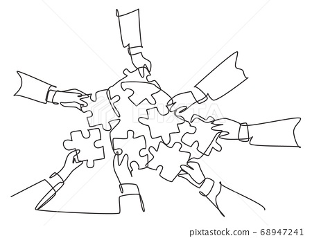 Single continuous line drawing of male and female business team members unite puzzle pieces together to one as team building symbol 68947241