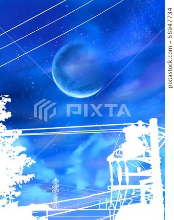 별빛 하현의 달과 전주의 실루엣 68947734