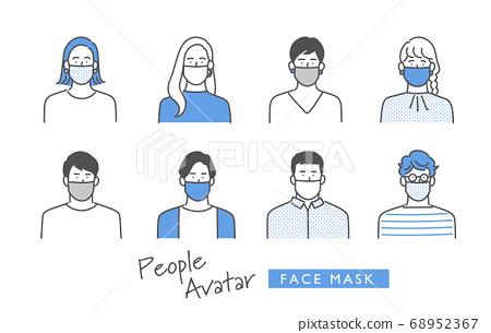 為戴著面具的年輕男人和女人設置的圖標 68952367