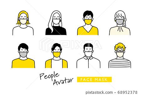 為戴著面具的年輕男人和女人設置的圖標 68952378