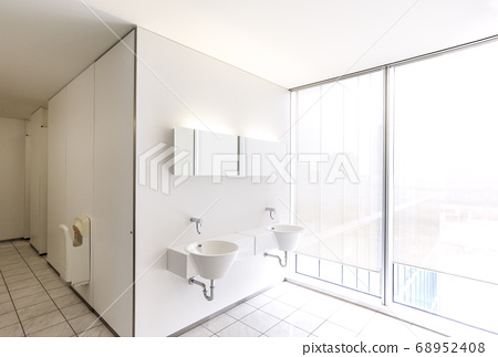Office washroom and toilet Clean and bright washroom and toilet lifestyle image material 68952408
