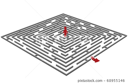 labyrinth/maze with a man in center 68955146