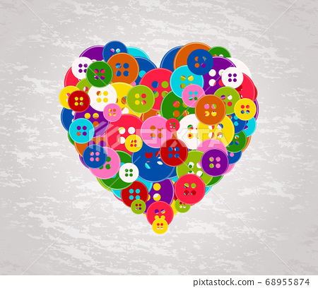 heart made with the buttons 68955874
