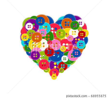 heart made with the buttons 68955875