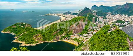 View of Copacabana and Botafogo in Rio de Janeiro, Brazil 68955993