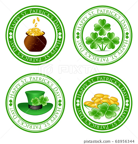 vector illustration of a set of green  stamps  68956344
