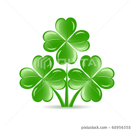 shamrocks with four lucky leaves 68956358