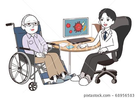男醫生談論臨床試驗焦慮老年男性病人輪椅 68956583