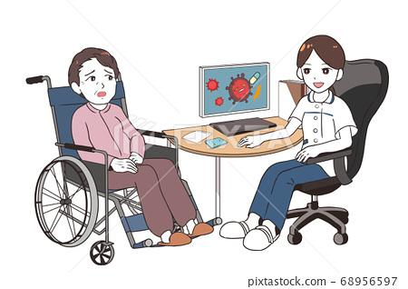 女醫生談論臨床試驗焦慮老年女性患者輪椅 68956597