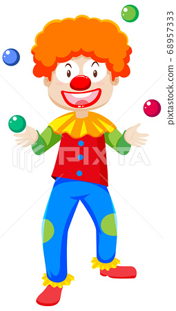 Juggling clown cartoon character isolated on white 68957333