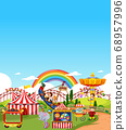Amusement park scene at daytime with blank bright 68957996