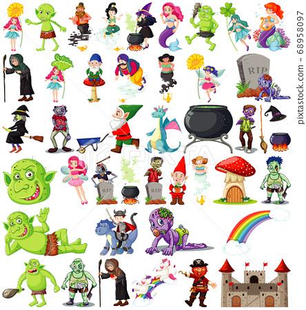 Set of fantasy cartoon characters and fantasy 68958097