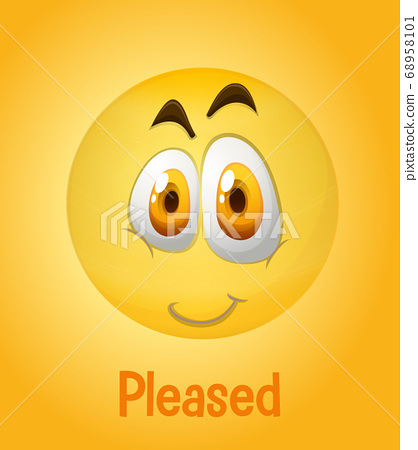 Pleased faces emoji with its description on yellow 68958101