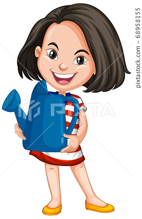 Asian girl holding blue watering can 68958155