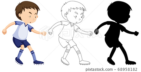 Boy playing soccer in colour and outline and 68958182