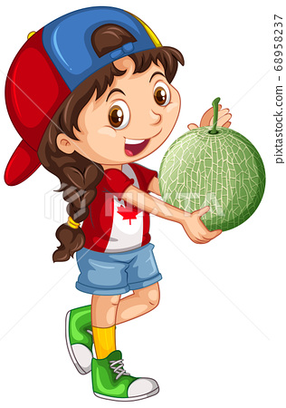 Canadian girl wearing cap holding a melon in 68958237