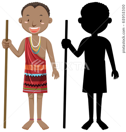 Set of people of African tribes character with its 68958300