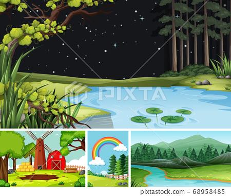 Four different scenes in nature setting cartoon 68958485
