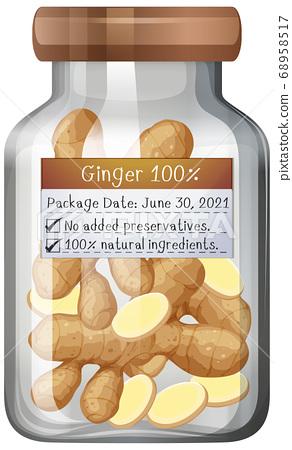 Ginger preserve in glass jar 68958517
