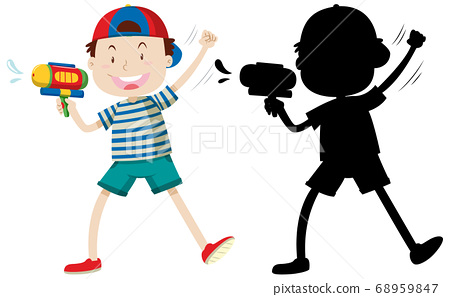 Boy holding water gun with its silhouette 68959847