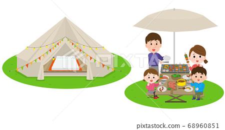 글램 핑 세련된 식사를하는 가족 일러스트 68960851