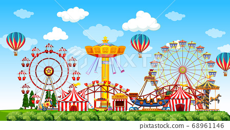 Amusement park scene at daytime with balloons in 68961146
