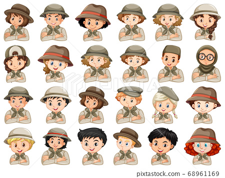 Set of different characters of boys and girls 68961169