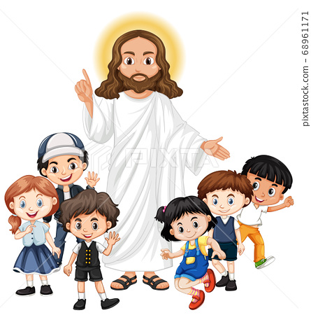 Jesus with a children group cartoon character 68961171