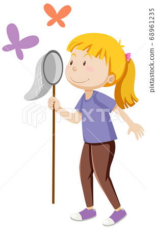 A girl holding insect catching in standing posing 68961235