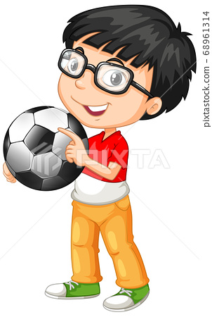 Cute youngboy cartoon character holding football 68961314