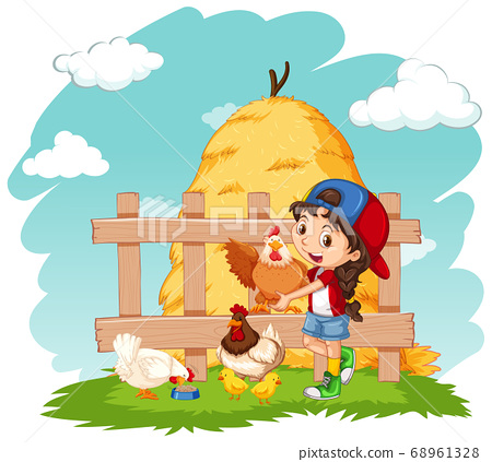 Happy girl and chickens on the farm 68961328