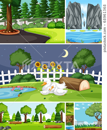 Six different scenes in nature setting cartoon 68961368