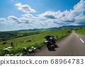 Highland ranch and parked touring bikes (Kamishihoro Town, Hokkaido) 68964783