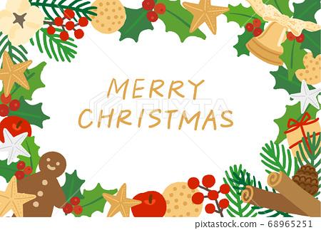 聖誕花環水平框架 68965251