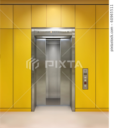 Chrome metal office building elevator doors. Open and closed variant. Realistic vector illustration yellow wall panels office building elevator. 68965511