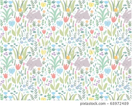 花朵和兔子圖案_2 68972489